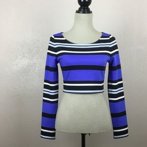Express Striped Cropped Top Long Sleeve Small